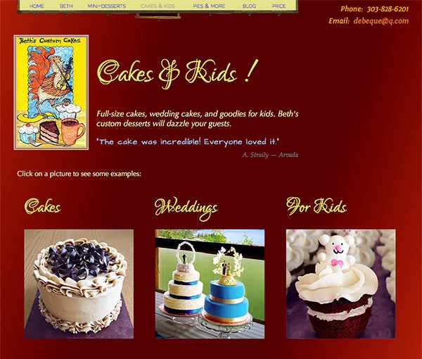 Beth's Cakes & Kids page, showing cakes, wedding cakes, and desserts for kids