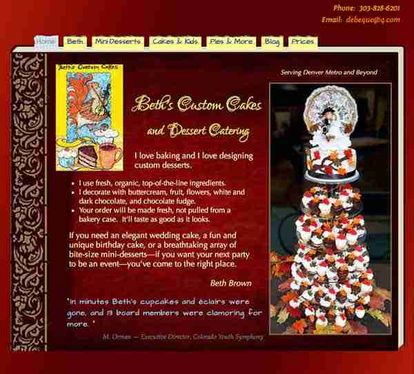 Dessert caterer Beth Brown's website homepage