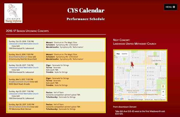 CYS Calendar page, with a list of this season's concerts and a map to the next one.