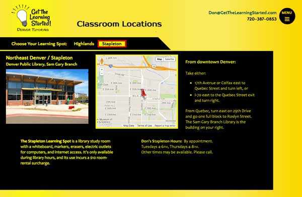 Don's Locations page, with photos and Google maps to each of his tutoring classrooms