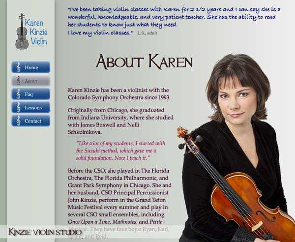 Colorado Symphony violinist and teacher Karen Kinzie's About page