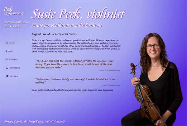 Denver event violinist Susie Peek's Home page