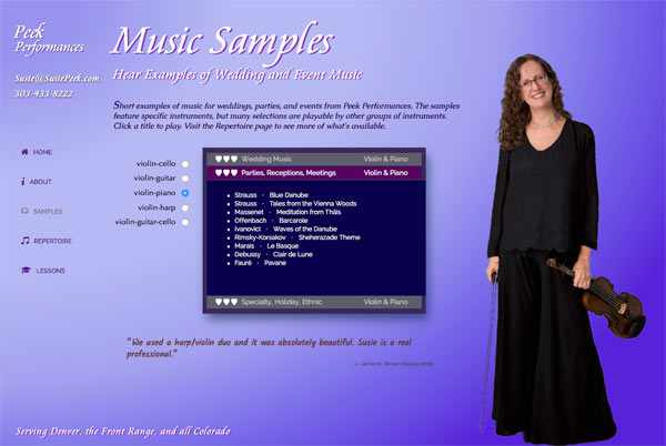Susie's Music Samples page, where visitors can listen to sound clips.