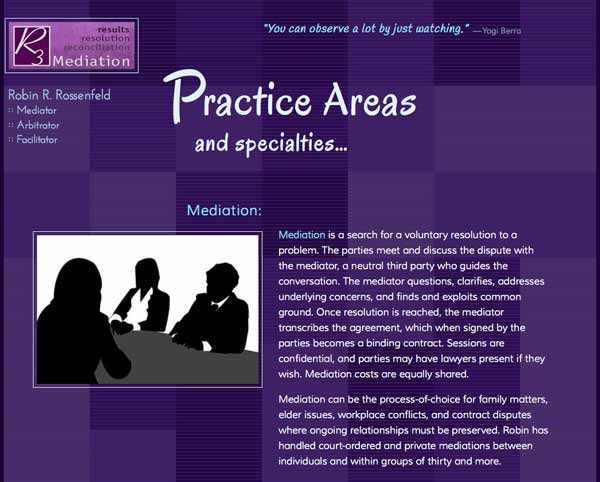 Robin's Practice Areas page, with descriptions of mediation, arbitration, and facilitation.