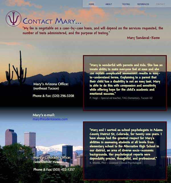 Mary's Contact page