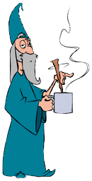 Satisfied wizard stirring his coffee