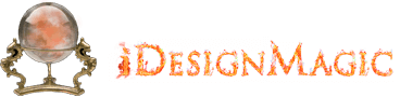 iDesignMagic crystal-ball and flame-name logo